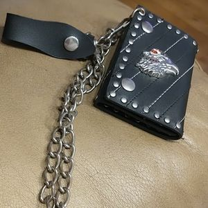 NWOT Studded Leather Eagle Biker Wallet